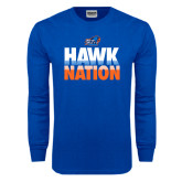 Royal Long Sleeve T Shirt-Hawk Nation