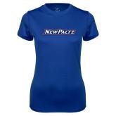 Ladies Syntrel Performance Royal Tee-New Platz Wordmark