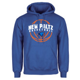 Royal Fleece Hoodie-New Paltz Basketball Arched w/ Ball