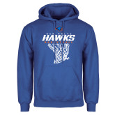 Royal Fleece Hoodie-Hawks Basketball w/ Hanging Net
