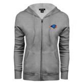 ENZA Ladies Grey Fleece Full Zip Hoodie-Hawk Head