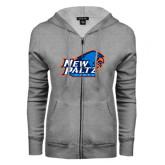 ENZA Ladies Grey Fleece Full Zip Hoodie-Head Word Mark