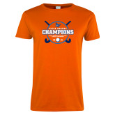 Ladies Orange T Shirt-2018 SUNYAC Field Hockey Champions