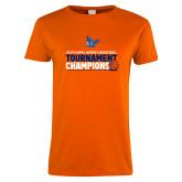 Ladies Orange T Shirt-2019 Womens Basketball Conference Champions