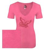 Next Level Ladies Vintage Pink Tri Blend V-Neck Tee-Official Logo Pink Glitter