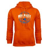 Orange Fleece Hoodie-New Paltz Basketball Arched w/ Ball