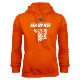 Orange Fleece Hoodie-Hawks Basketball w/ Hanging Net