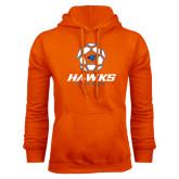 Orange Fleece Hoodie-Hawks Soccer w/ Geometric Ball