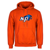 Orange Fleece Hoodie-NP Hawk Head