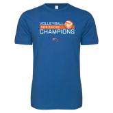 Next Level SoftStyle Royal T Shirt-2018 SUNYAC Volleyball Champions