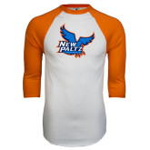 White/Orange Raglan Baseball T Shirt-Official Logo