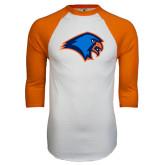 White/Orange Raglan Baseball T Shirt-Hawk Head