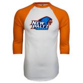 White/Orange Raglan Baseball T Shirt-Head Word Mark