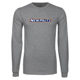 Grey Long Sleeve T Shirt-New Platz Wordmark