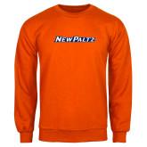 Orange Fleece Crew-New Platz Wordmark
