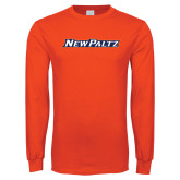Orange Long Sleeve T Shirt-New Paltz Word Mark