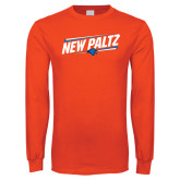 Orange Long Sleeve T Shirt-New Paltz Slanted w/ Logo