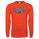 Orange Long Sleeve T Shirt-New Paltz Hawks Arched Stacked