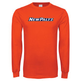 Orange Long Sleeve T Shirt-New Platz Wordmark