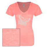 ENZA Ladies Coral Melange V Neck Tee-Official Logo White Soft Glitter