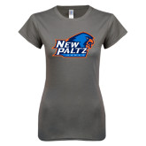 Ladies SoftStyle Junior Fitted Charcoal Tee-Head Word Mark