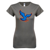 Ladies SoftStyle Junior Fitted Charcoal Tee-Hawk