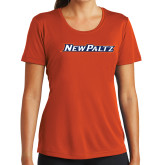 Ladies Syntrel Performance Orange Tee-New Platz Wordmark