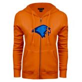 ENZA Ladies Orange Fleece Full Zip Hoodie-Hawk Head