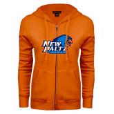 ENZA Ladies Orange Fleece Full Zip Hoodie-Head Word Mark