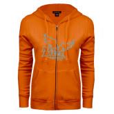 ENZA Ladies Orange Fleece Full Zip Hoodie-Official Logo Silver Soft Glitter