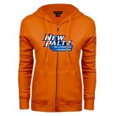 ENZA Ladies Orange Fleece Full Zip Hoodie-Wellness and Recreation