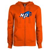 ENZA Ladies Orange Fleece Full Zip Hoodie-NP Hawk Head