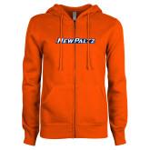 ENZA Ladies Orange Fleece Full Zip Hoodie-New Platz Wordmark