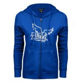 ENZA Ladies Royal Fleece Full Zip Hoodie-Official Logo White Soft Glitter