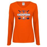 Ladies Orange Long Sleeve V Neck Tee-2018 SUNYAC Field Hockey Champions