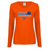 Ladies Orange Long Sleeve V Neck Tee-2018 SUNYAC Volleyball Champions