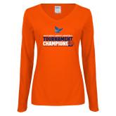 Ladies Orange Long Sleeve V Neck Tee-2019 Womens Basketball Conference Champions