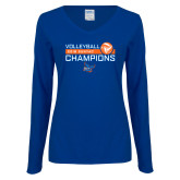 Ladies Royal Long Sleeve V Neck Tee-2018 SUNYAC Volleyball Champions