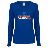 Ladies Royal Long Sleeve V Neck Tee-2019 Womens Basketball Conference Champions