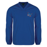 V Neck Royal Raglan Windshirt-Official Logo