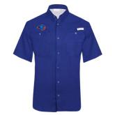 Columbia Tamiami Performance Royal Short Sleeve Shirt-Hawk Head