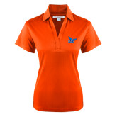 Ladies Orange Performance Fine Jacquard Polo-Official Logo