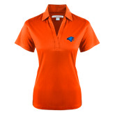 Ladies Orange Performance Fine Jacquard Polo-Hawk Head