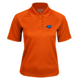 Ladies Orange Textured Saddle Shoulder Polo-Hawk Head