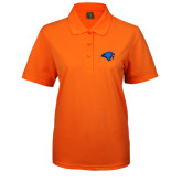 Ladies Easycare Orange Pique Polo-Hawk Head