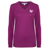Ladies Deep Berry V Neck Sweater-Official Logo