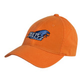 Orange Twill Unstructured Low Profile Hat-Head Word Mark