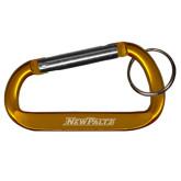 Orange Carabiner with Split Ring-New Paltz Word Mark Engraved