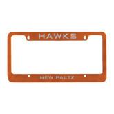 Metal Orange License Plate Frame-Hawks
