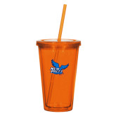 Madison Double Wall Orange Tumbler w/Straw 16oz-Official Logo
